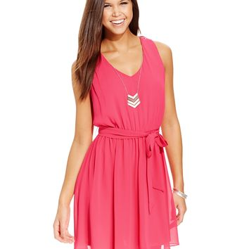 BCX Juniors' Lattice-Back Belted Dress