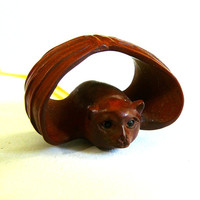 Bat Netsuke Carved Wood Pendant w/Necklace Hand Made 20/14 Gold Filled Wire Bale Quality Halloween Jewelry or Sculpture Gift