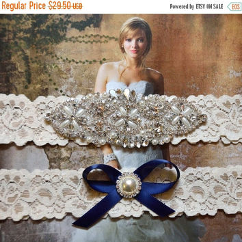 ON SALE Navy Blue Wedding Garter, Crystal Bridal Garter Set, Vintage Inspired Wedding Stretch Lace Garter, Bridal Garter, Garter