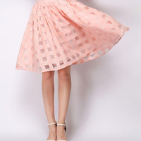 Cute High Waisted Cutout Pink Skirt