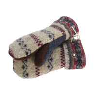 Wool Sweater Mittens Women's Recycled Upcycled - Handmade in Wisconsin -Tan Burgundy Navy Lined Fair Isle