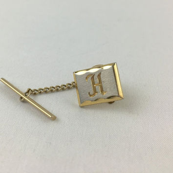 Vintage Initial H Silver & Gold Toned Square Tie Tack Gold and Silver Toned Tie Pin with Safety Chain Men's Accessories Dapper Man Gift