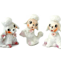 Three Miniature Porcelain Poodle Figurine Set with Pink Flowers Signed Japan