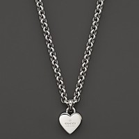 Gucci Sterling Silver Trademark Heart Pendant Necklace, 21.65""