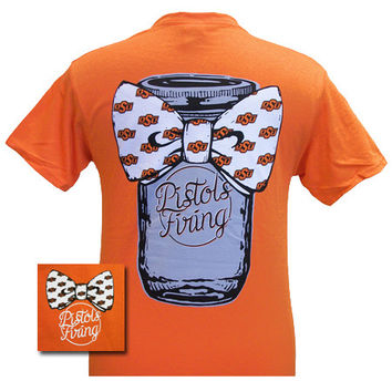 OSU Oklahoma State Cowboys Mason Jar Big Bow Girlie Bright T Shirt