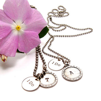 I DO - His and Hers Matching Necklaces! Silver Disk stamped I DO. Bride and Groom Initials. Wedding. Honeymoon.