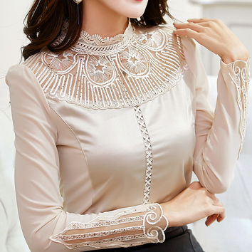 Elegant Women Blouse Stand Collar Lace Embroidery Casual Shirt Mesh Patchwork Stretchy Long Sleeve Apricot Black M-3XL T61101
