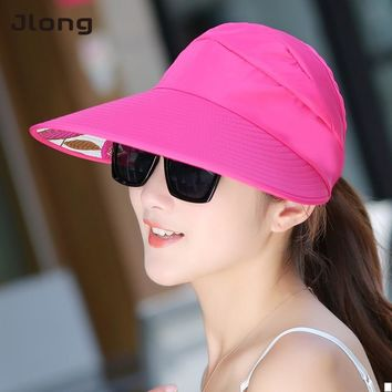 Summer Wide Cap Sun Hats visor Sun Casual Hats for women with big heads beach hat UV protection Hat