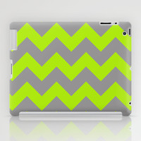 Chevron Lime iPad Case by Alice Gosling