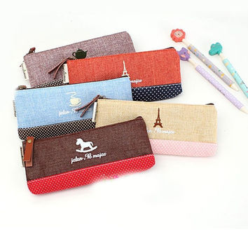 Vintage Pencil Pen Case Cosmetic Makeup Bag Pouch Holder Women Cosmetic Bags Fresh purse Coin case Free Shipping