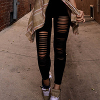 Black Ripped Slashed Leggings
