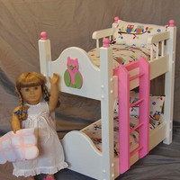 Doll Bunk Bed with Adorable Owl Bedding For American Girl Doll and 18 inch dolls