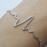 Heartbeat silver adjustable Bracelet, Ekg Bracelet, gift for doctor, gift for medical student, graduation gift, medical  bracelet