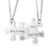 Stainless Steel His Crazy Her Weirdo Couples Necklace Set,Personalized Couples Jewelry,Perfect Gift for Boyfriend Girlfriend
