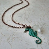 Verdigris Seahorse Necklace by vintageandglam on Etsy