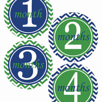 Navy Green Monthly Stickers- navy green baby, monthly baby sticker, 12 month stickers, monthly bodysuit, baby age stickers, watch me grow