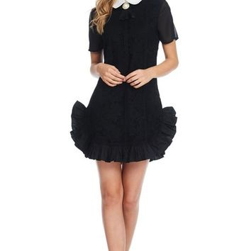 Black Lace Embroidery Ruffle Hemline Short Dress
