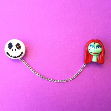 "Handmade ""Jack & Sally Skellington"" Nightmare Before Christmas Inspired Sweater or Collar Clips - Disney Halloween Inspired"