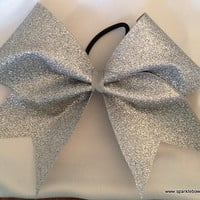 Silver Glitter Cheer Hair Bow Cheerleading