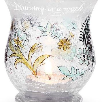 Nursing is a work of heart, always caring from the very start Glass Candle Holder