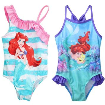 One-piece Little Girls Mermaid Swimsuit Infant Girl  Bathing Suit Swimwear Strap Bikini  Swimsuit Swimming Costume Clothes