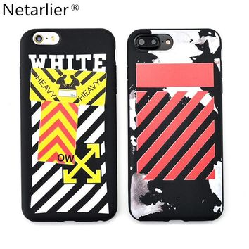 Netarlier Fashion PK Off white Designs Case For iPhone 6 6sPlus 7 7Plus High Quality Diagonal stripes TPU Soft Phone Back Cover