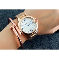 Cartier women men exquisite fashion watch Rose gold I-Fushida-8899