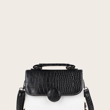 Black & White Two Tone Croc Embossed Satchel Bag