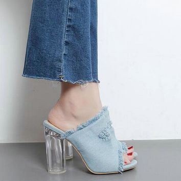 Distressed Denim Clear Heel Sandals