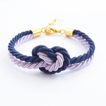 Dark blue and lilac heart knot , rope bracelet,  tie it knot ,friend gift , bridesmaid gift , rope jewelry ,heart knot
