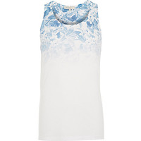 River Island MensBlue faded floral print tank