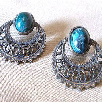 Vintage 80s Bronze & Malachite Filigree Door Knocker Post Earrings Exotic Mediterranean Unique Green Marble Indian Inspired Ladies Gift Idea
