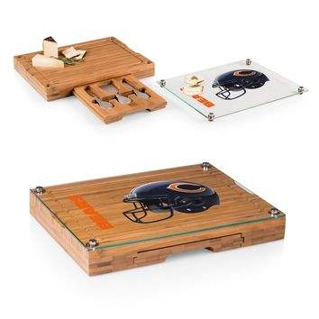 Chicago Bears 'Concerto' Glass Top Cheese Board & Tools Set-Bamboo Digital Print