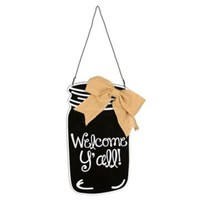 Black Welcome Y'all Mason Jar Wooden Plaque