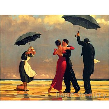 Oil painting paint by numbers diy canvas wall decor hand painted picture printed drawing coloring by number dance in rain E179