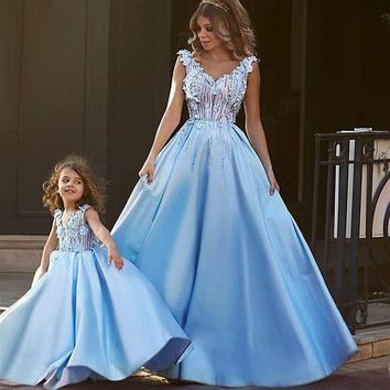 CREYLD1 Matching Mother Daughter Clothes Dress Party Mom and Daughter Dress Wedding Formal Clothes Mother Kids Matching Elegant Dresses