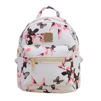 Fashion Floral Printing Women Leather Backpack School Bags for Teenage Girls Lady Travel Small Backpacks Mochila Feminina