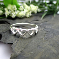 Sterling Silver Heart Ring, Sweetheart Ring, Petite, Heart Jewelry Gift, Silver Ring Size 7