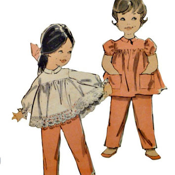 Vintage 60s Infants Flared Top Pants Pattern Long Full or Short Puff Sleeves Optional Suspenders Advance 9805 Sewing Patterns Size 6 Months