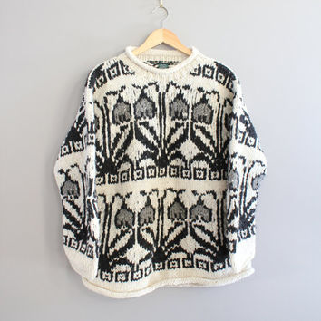 Handmade Boho Sweater Black and White Ethnic Pattern 100% Wool Hand knitted Slouchy Chunky Avant Garde Knitwear Size M - L