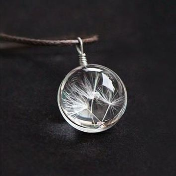 Make A Wish Crystal Ball Dandelion Necklace & Delicate Leather Chain.