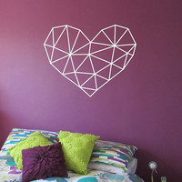 Geometric Heart WITH QUOTE Vinyl Wall Decal Sticker Art Decor Bedroom Design Mural interior design Science Education Art educational