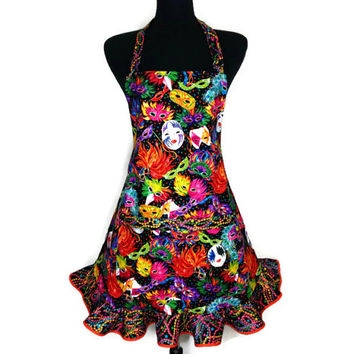 Mardi Gras Apron for Women , Masks with Carnival Beads Print Ruffle , Retro Kitchen Decor