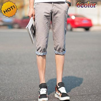 Summer Style 2017 Thin Casual Slim Fit Khaki Capri leisure trousers Mens Students Leg Cuffed flanging Boys Street Pantalon Homme