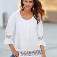 White Lace Patchwork Ruffle Hem Shirt
