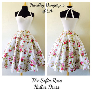 White FLORAL Print Halter Dress, Rockabilly Bridesmaid, Garden Wedding Full Circle Swing Skirt, Special Occasion Party Dress