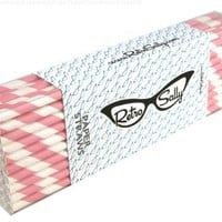 "Paper Straws 8"" - Pack of 50 Light Pink Stripe by Retro Sally"