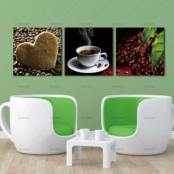 3 Piece Wall Art Picture Canvas Painting Wall  Paint coffee  Kitchen Hone Modern Wall Painting Home Decorative for living room