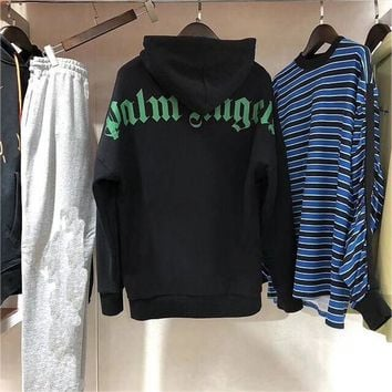 Palm Angels Sweatshirts Women Men 1:1 Fashion Splice Palm Angels Hoodie Casual Streetwear Stripe Palm Angel Sweatshirts Pullover