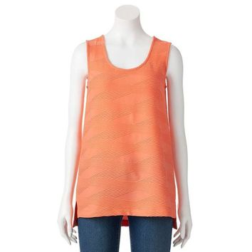 DCCKX8J Dana Buchman Textured High-Low Scoopneck Top - Women's Size